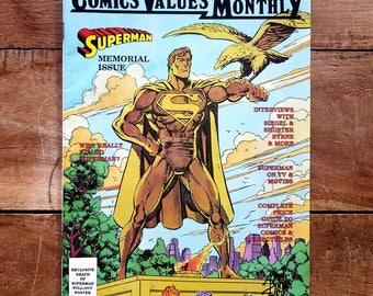Comics Value Monthly Superman Memorial Issue, Superman Comics, Death of Superman, Superman poster, Vintage Superman Comics