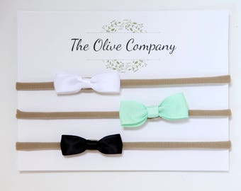 The Willow- A collection of three handmade bows on nylon headbands or metal clips