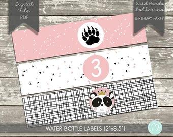 Personalised Water Bottle Labels/Girl Panda Wild Birthday Party/Ballerina/Princess Birthday Party/First Birthday/Printable Labels/Pink