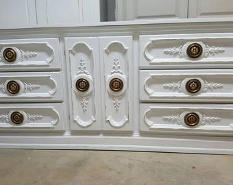 Sold. Out of stock. Shabby chic distressed dresser credenza rustic glam dressers