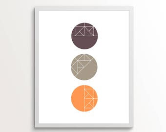 Geometric Wall Art, Circle Wall Art, Circle Art, Geometric Print, Circle Print, Three Circles, Purple Art, Orange Art, 8x10, 11x14, Wall Art