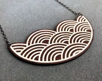 Wooden Wave Necklace, Modern Statement Bib Necklace, Walnut Inlay Marquetry Laser Cut
