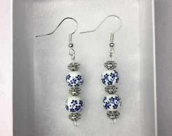 Blue and white flower ceramic bead earrings