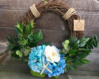 Summer wreath beach wreath year round wreath hydrangea wreath rope wreath grapevine wreath coastal wreath