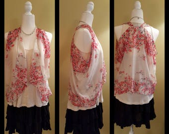 Sheer white petite Scarvest with black, red, and grey pattern