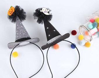 Halloween Headband, Witch Hat Headband, Halloween costume,Pumpkin Headband, Ghost Headband,Hat Headband, Witch Hat, ribbonnkids