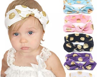 Polka dot Hairband - hair accessory - modern style - baby girl - toddler hair band - cotton - modern hair - trendy - metalic dots