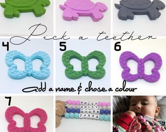 Turtle or Butterfly Teether - select a teether add a name and chose a colour. personalized teether - silicone toy - pacifier clip - chew toy