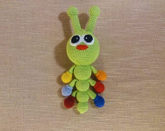 Caterpillar baby rattle toy/crochet Rattle/Cotton crochet toy/Baby gift/Baby Shower gift/teething toy/Newborn gift/teehter