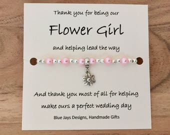 Thank You Flower Girl Bracelet, Thank You Bridesmaid, Bridal Party Gift, Delicate Bracelet, Flower Girl Gift, Wedding Party, Pearl Bracelet