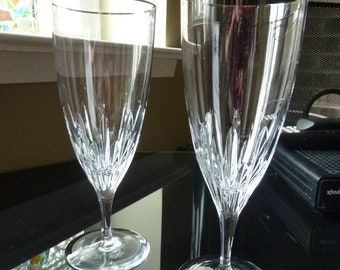 Waterford Crystal Goblets w Platinum Silver rim/Marquis Water Glass Ice Tea Glasses/Stemware/Hallmarked Etched Waterford/not perfect-scuffs