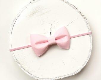 Pink bow skinny headband, baby headband, bow headband, toddler headband, baby bow headband, girls bow, pink bow, skinny headband