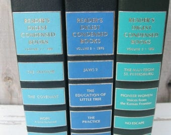 INSTANT LIBRARY Reader's Digest Blue BOOKS<>Vintage Blues & Turquoise Book Set<>Set of 3 Readers Digest Books<>12 Condensed Books<> Jaws 2.