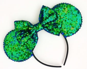 The Full Sequin (Mermaid Blue/Green) - Handmade Sequin Mouse Ears Headband