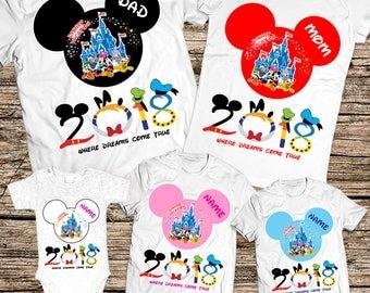 Disney shirts, Disney Family Shirts, Personalized Disney Vacation Shirts 2018, Matching family disney shirts, Disney family vacation shirts