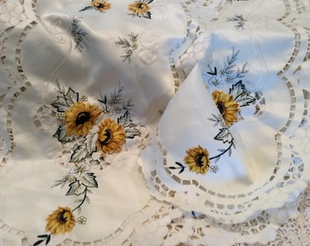 Set of two vintage table runners/dresser scarves