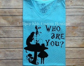 Catepillar, who are you, hookah, Alice's Adventure in wonderland, short sleeve shirt*