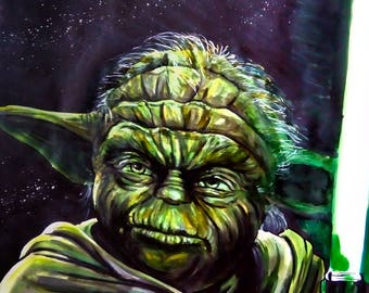 Yoda star wars markers drawing more ink on a3 paper