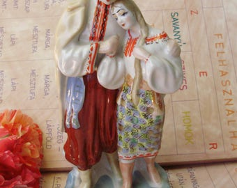 Vintage Soviet-Russian porcelain  figurine,Lovers,boy and girl,handpainted,stamped