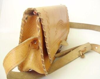 Vintage ,Hungarian 70's Tooled,braided Leather Hippie Boho Brown Purse Bag Handbag