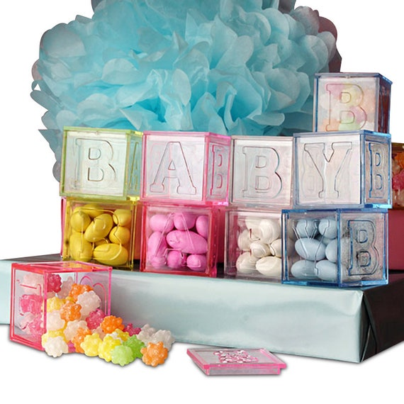 12x Baby Blocks Favor Boxdiy Baby Shower Favor Blue Baby Carriage