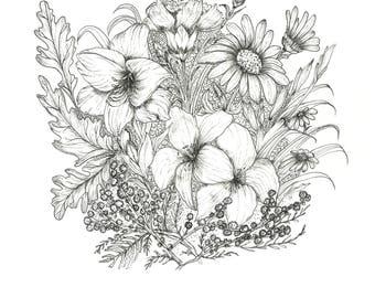 International Women's Day Flowers - Black and White