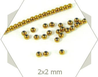 190 beads 2mm Golden PK45 hematiterondes