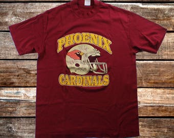 Vintage 80s Phoenix Cardinals Trench Burgundy Tee Shirt Size L/M For Fans of Arizona Cardinals Football, or The 1990s ***Shipped Same Day***