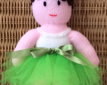 Lovely Knitted Ballerina Character  Doll with Bright Lime Green Tutu