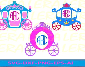 60 % OFF, Princess Carriage SVG,  Princess Carriage Svg Monogram Frames, Princess Cut Files svg, dxf, ai, eps, png, Princess Svg