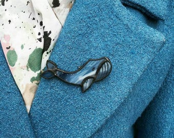Brooch whale blue animal jewelry of glass boho natural sea ocean dolphin, fish, Tiffany blue whale