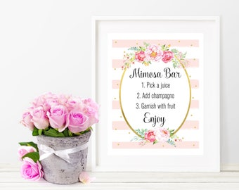 Mimosa Bar Sign, Printable Mimosa Bar Sign, Watercolor Floral Mimosa Bar Sign, Baby Shower Party Decoration, Pink and Gold, Digital Print