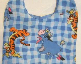 Winnie the Pooh Blue Checkered Reversible Bib