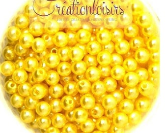 Set of 100 round beads Pearly acrylic yellow 6 mm