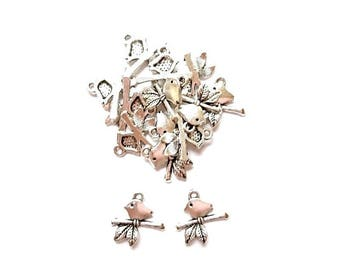 50 mother Branches 17mm x 16mm antiqued silver bird charms