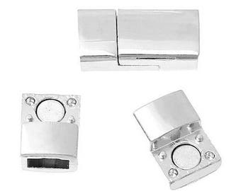 1 clasp silver metal magnetic rectangular strips