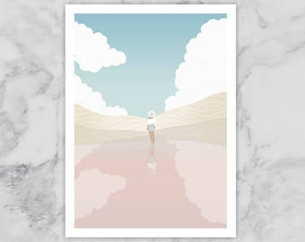 Girl at Beach Pink Sand Illustration A4 Print Clouds Sea Holiday Dream