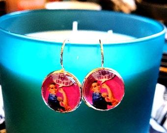 Handmade Rosie the Riveter Fight Like a Girl cabochon earrings- 16mm
