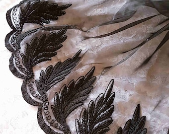 Beautiful fabric lace Black Lace shirt on organza width 35cm the meter
