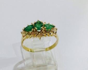 Emeralds diamonds,14k gold aniversary ring,size7