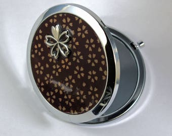 Pattern Pocket mirrors Japanese dark red cherry blossom sakura
