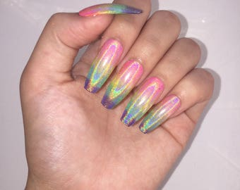 Holographic Rainbow press on nails
