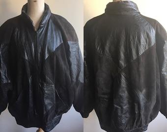Vintage 80s Black Leather Suede Jacket