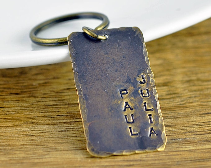 mens dog tag keychain - hand stamped keychain - personalized mens keychain - mens keychain - mens jewelry - fathers day gift - gift for him