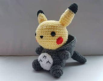 Totochu amigurumi/crochet | Pikachu Totoro inspired | Pokemon plush | My Neighbour Totoro | gifts for him | gifts for her [Made to order]