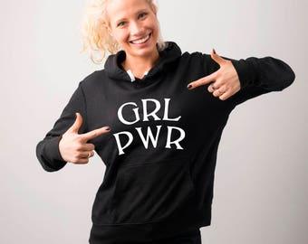 Grl Pwr Hoodie, Feminist Hoodies, Girl Power Hoodie, Feminism, Feminist Gifts, Hipster Hoodie, Hipster Sweatshirt