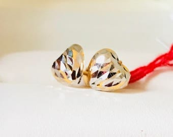 Solid 22k gold 916 gold hearts earstuds