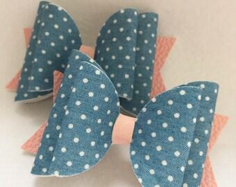 Denim pink leatherette hair bow