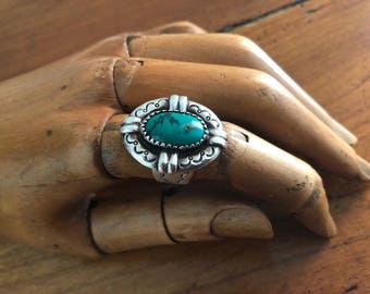 Tibetan  Tribal Silver and Turquoise  Ring