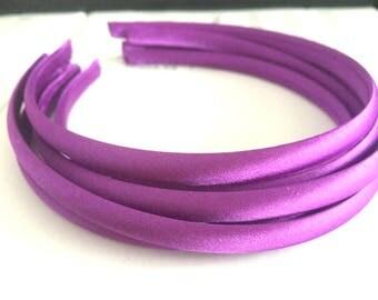 10pieces fuchsia satin plastic hair headband covered 10mm wide